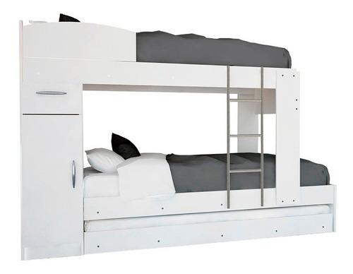 cama cucheta triple c/ escalera reforzada  3 en 1 con carro
