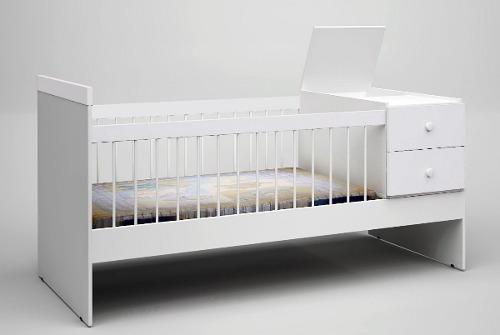 cama cuna + baranda movil + cajon color +  colchón