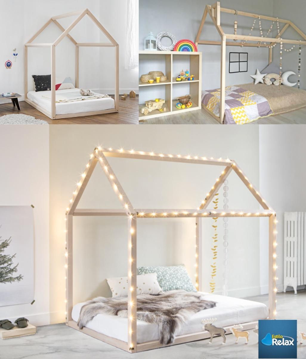 Cama Cuna Casa Montessori En Pino Canadiense - 100 X 190 - $ 599.900 ...