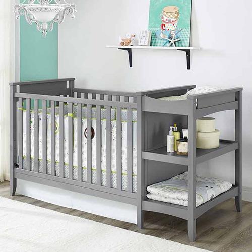 cama cuna con cambiador convertible 2-en-1 baby relax | gris