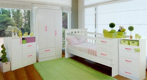 cama cuna funcional reforzada con cajonera y baulera