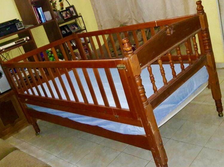 Cama cuna individual de madera base y colch n 1 en mercado libre - Cama cuna en madera ...