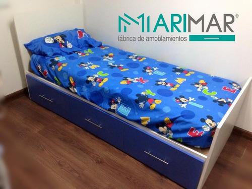 cama de 1 plaza con cajones (3 de cada lado)