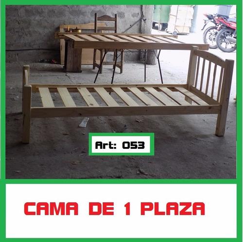 Cama de 1 plaza de madera maciza de pino en for Ofertas de camas 1 plaza