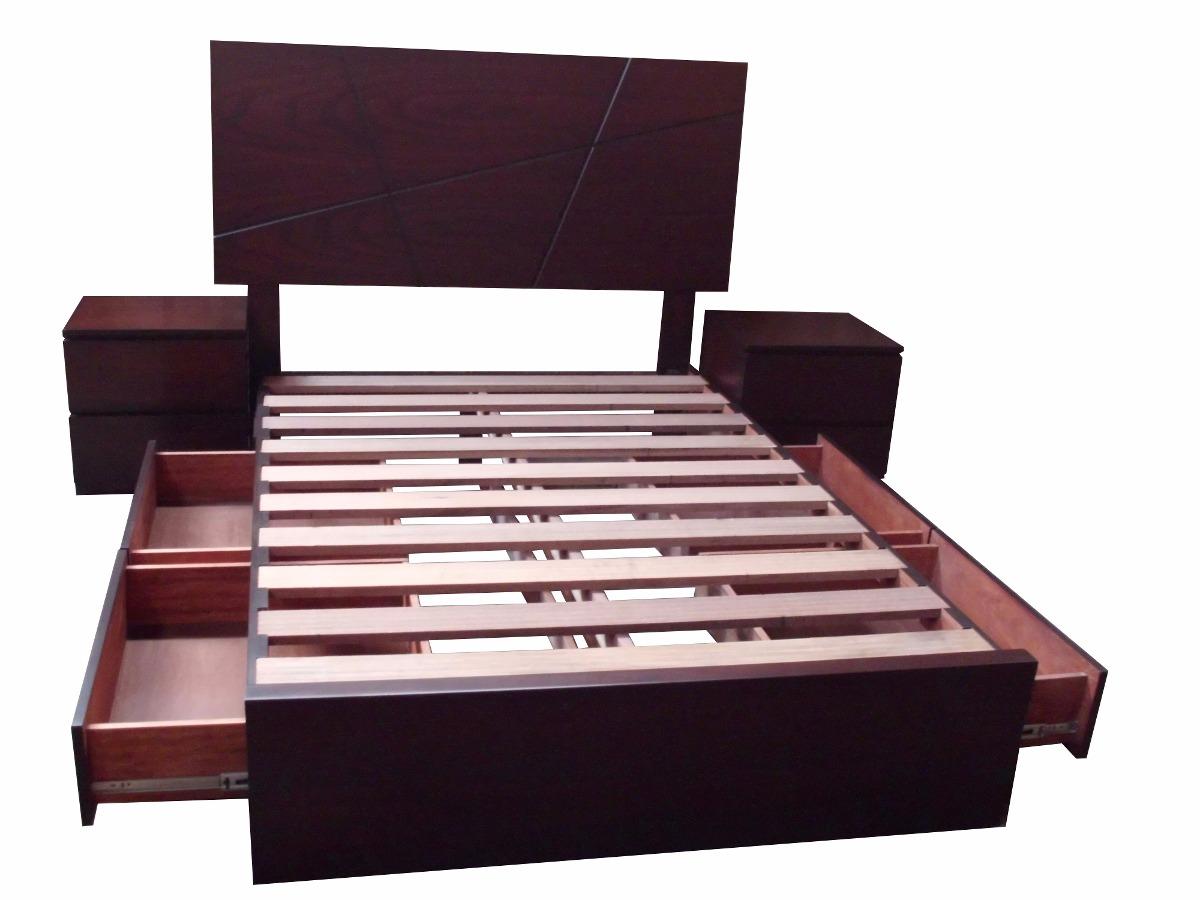 Cama de 2 plazas con cajones laterales en madera tornillo for Cama queen size con cajones