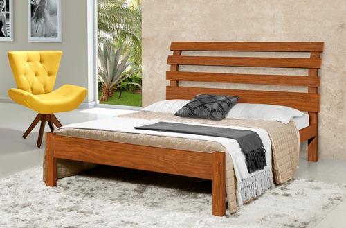 cama de casal em madeira maciça rebeca cor castanho
