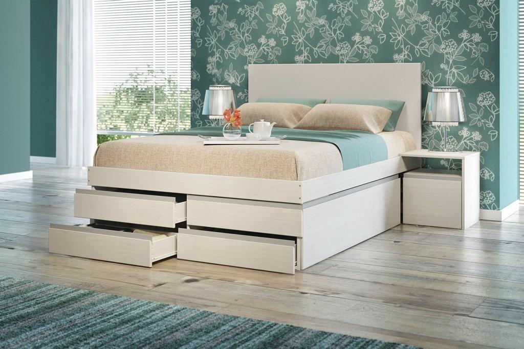 Armario Para Ropa Blanca Ikea ~ Cama De Casal Multifuncional C Criado Mudo E Gavetas Branco R$ 1 599,00 em Mercado Livre