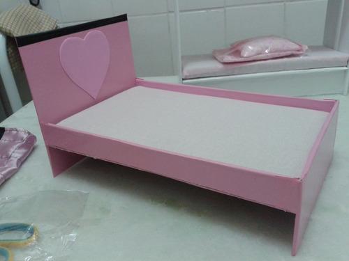 cama de casal para bonecas barbie em mdf