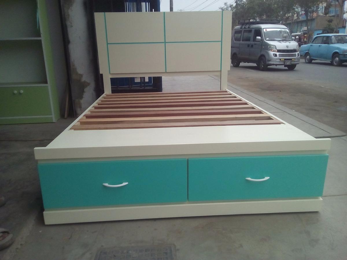 Cama de dos plazas con cajones s 520 00 en mercado libre for Cama dos plazas