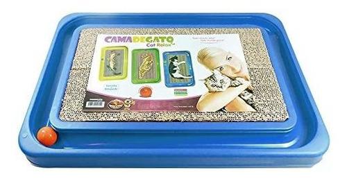 cama de gato + brinquedo cat relax m furacão pet  - azul 655