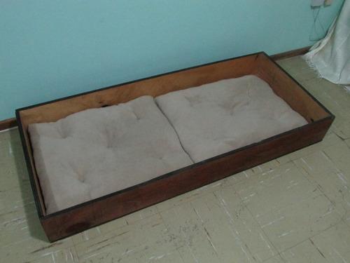 cama de madera + cojines -  perros o gatos