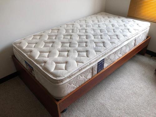 cama de madera con colchon comodisimo sencilla 100 cm base