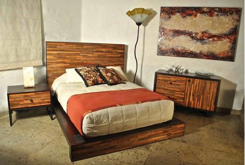 cama de madera nogal matrimonial