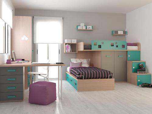 cama desplazada tren 221 infantil juvenil ropero valenziana