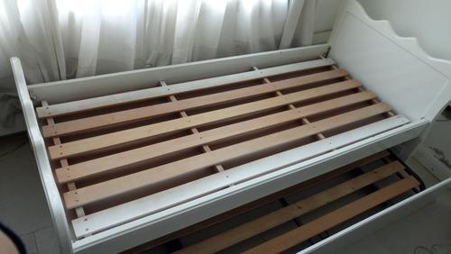 cama doble laqueda  con carrito