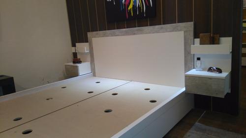 cama dos plazas con 4 cajones + respaldo laca poliuretanica