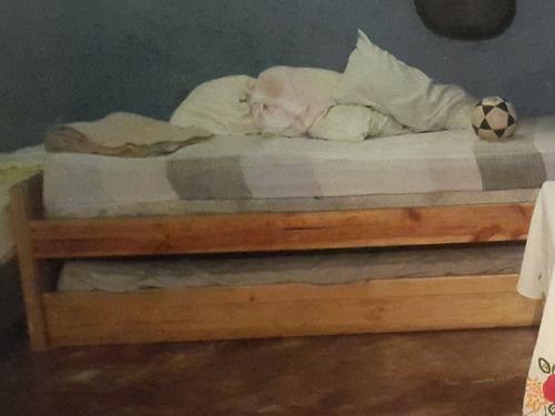 cama dúplex individual madera de pino con 1 colchón 55
