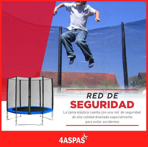 cama elastica 2.44 metros femmto 120 kg con red protectora