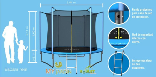 cama elástica 2,44 verde red my jardin soulet trampolin pro