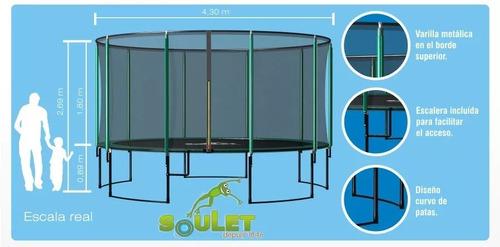 cama elastica grande 4.30 m con red seguridad modelo premium