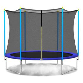 Cama Elástica Pr 2,44 Mts Azul, C/red Y Escalera - My Jardin