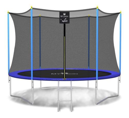 cama elástica pr 3,05 mts azul, c/red y escaler - my jardin
