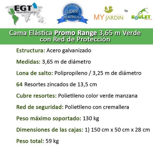 cama elastica pr 3,65 mts verde,con red- my jardin by soulet