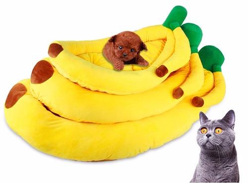 cama en forma de platano, para perros o gatos