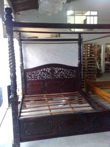 cama entalhada em madeira teka - importada da indonésia