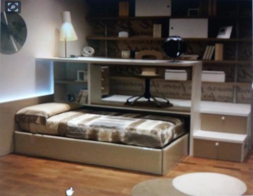 cama+ escritorio+ cajonera + escritorio + escalera cajonera