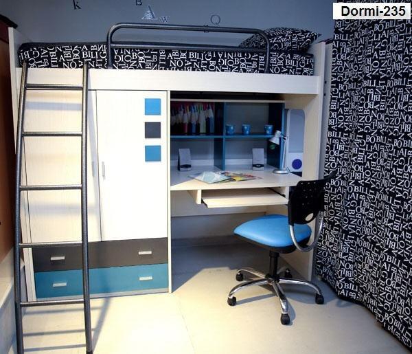 Camas con escritorio debajo latest dormitorio infantil con una estructura de cama alta de color - Cama con escritorio abajo ...