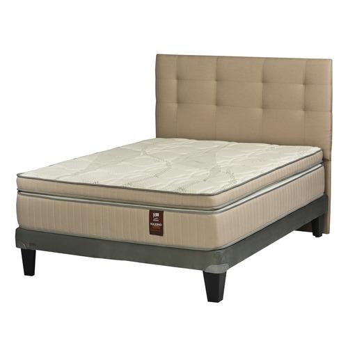 cama europea 2 plazas flex maximo cobre + respaldo arena