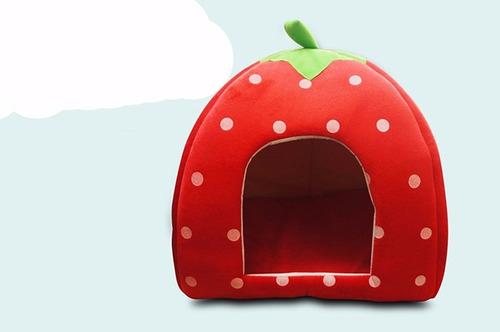 cama frutilla para mascotas chicas 32x32cm (36cm de alto)
