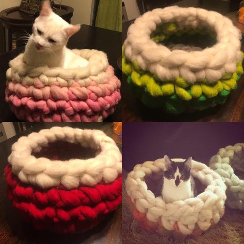 cama  gato 100% lana de oveja