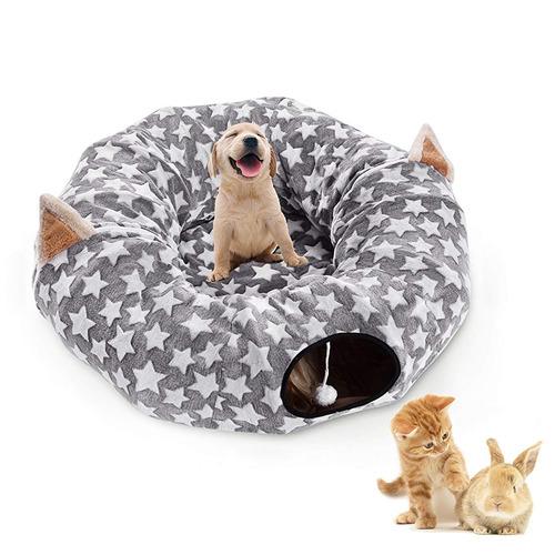 cama grande con túnel para perros y gatos con cojín