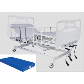 Cama Hospitalar Com Elevação De Altura Manual Com Colchão