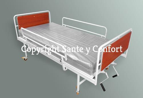 cama hospitalaria 3 planos+colchón antiescaras+atril+baranda