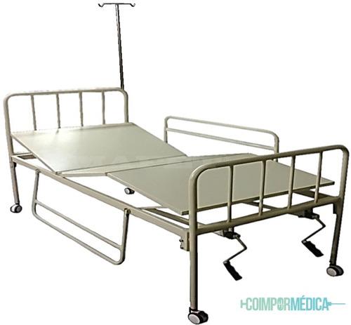 cama hospitalaria de 3 planos + colchón ort +atril + baranda