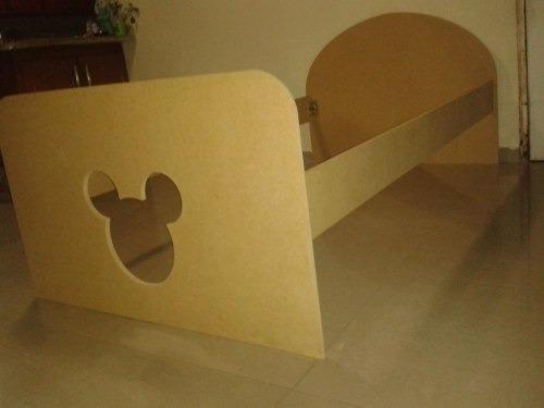 cama individual mickey / minnie en mdf crudo