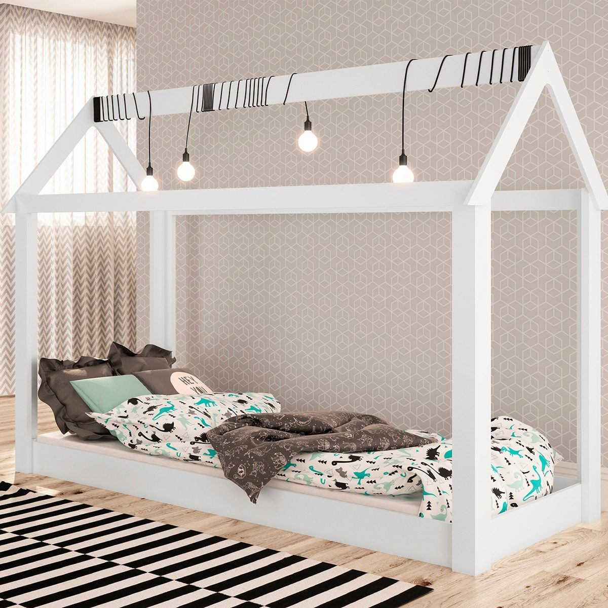 Cama infantil casinha p quarto montessoriana branco r for Fabrica de camas infantiles