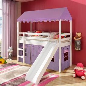 75fdd5b99 Cama Infantil Com Escorregador E Tenda Castelo Lilás Com Tel