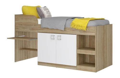cama infantil com escrivaninha multimóveis argila acetinada
