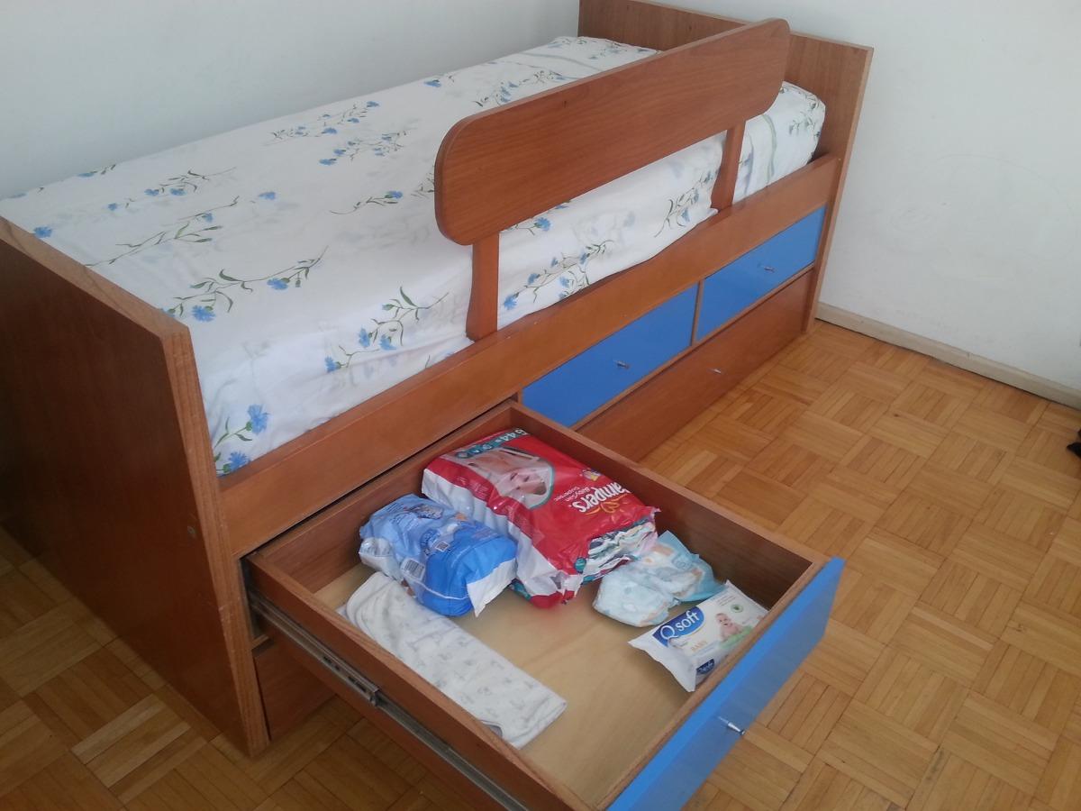 cama infantil de cedro con carro cama y cajones y baranda