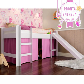 66c16570de Cama Infantil Elevada C  Escorregador Cortina Rosa - Branco