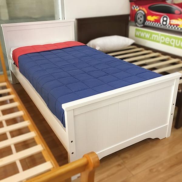 Cama infantil nan blanca de madera 1 plaza entrega for Camas blancas de madera