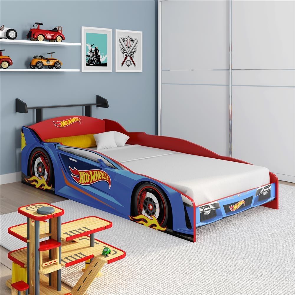 b90eb01088 cama infantil pura magia hot wheels plus - azul vermelho. Carregando zoom.