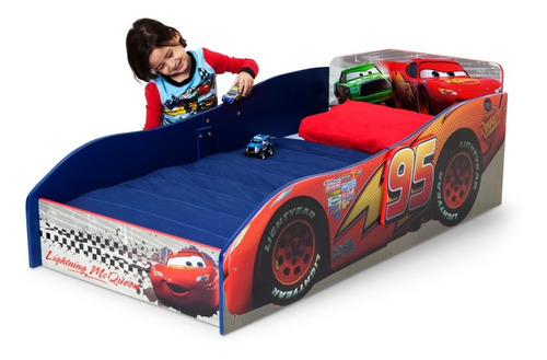 cama infantil toddler de madera de cars rayo mcqueen disney