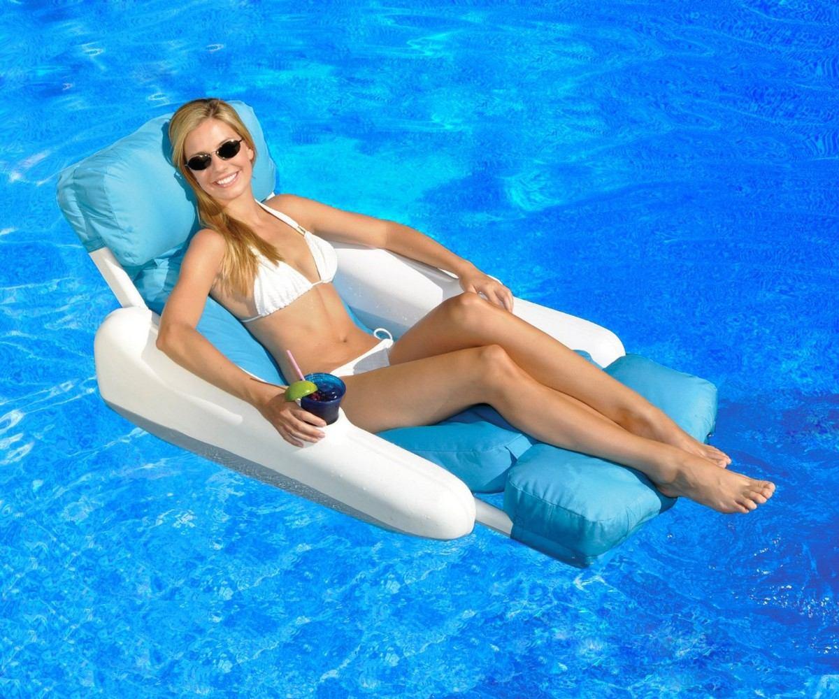 Cama inflable piscina flotador con portavasos alberca vbf for Flotadores para piscina