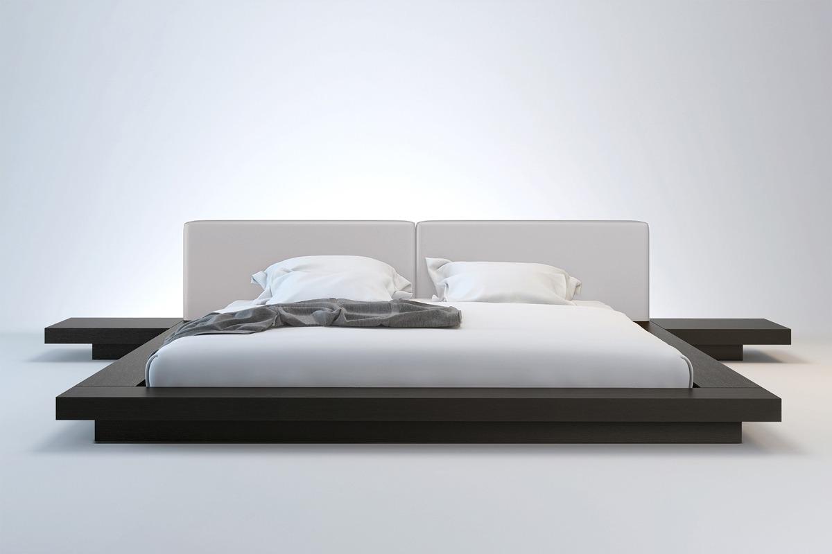 Cama japonesa com cabeceira e criados casal e queen size for Medidas de bases de cama queen size