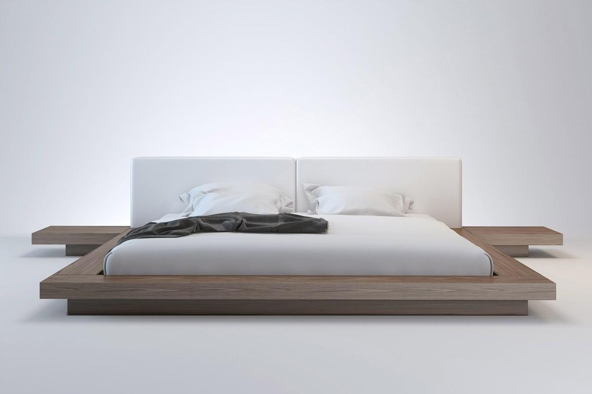 Cama japonesa com cabeceira e criados mudos r - Base cama japonesa ...